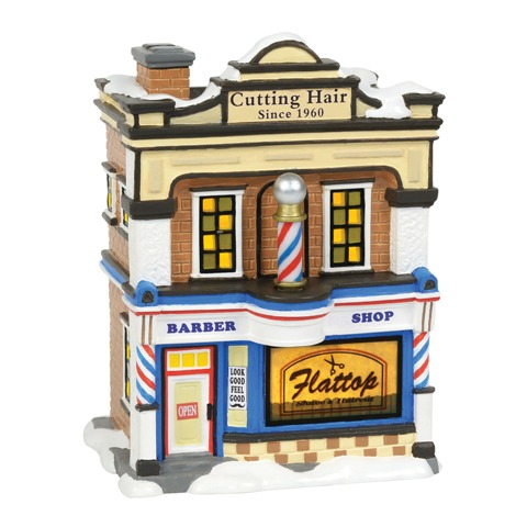 Flat Top Barber Shop Snow Village